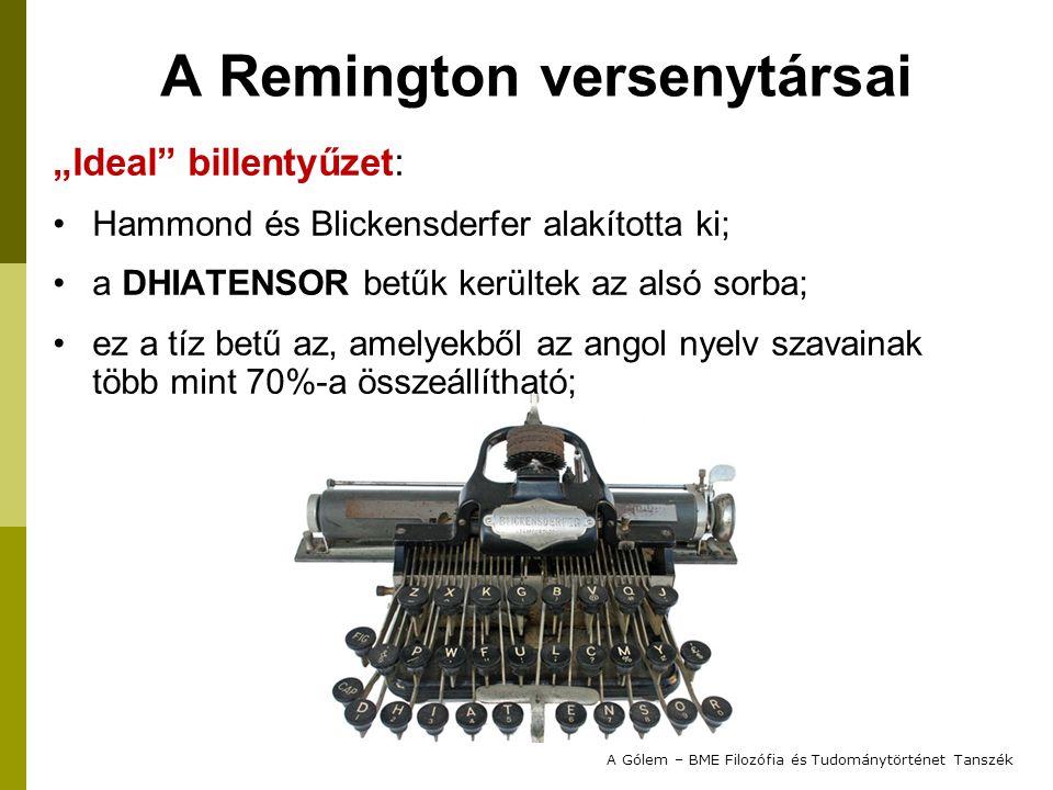 """A Remington versenytársai """"Ideal"""" billentyűzet: Hammond és Blickensderfer alakította ki; a DHIATENSOR betűk kerültek az alsó sorba; ez a tíz betű az,"""