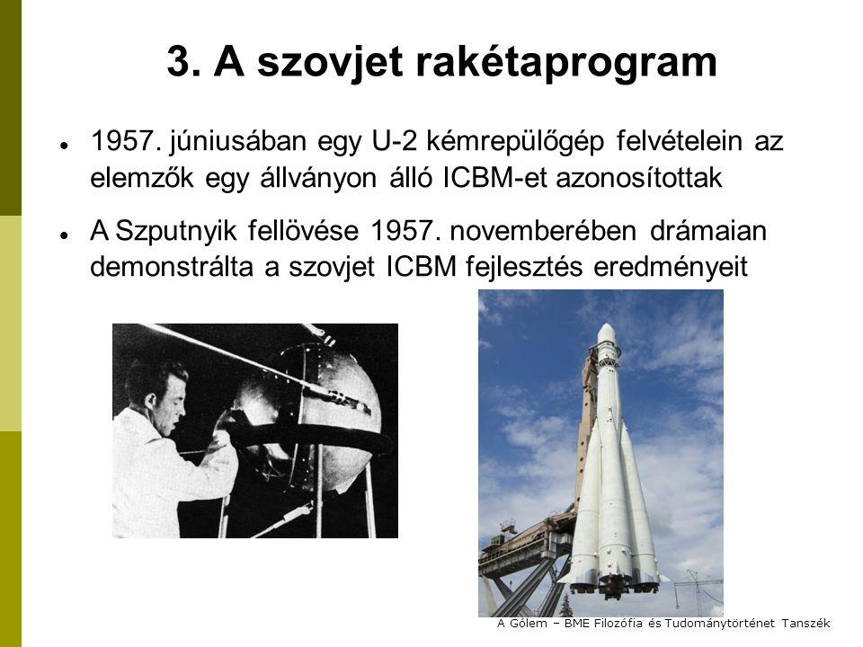 1957. júniusában egy U-2 kémrepülőgép felvételein az elemzők egy állványon álló ICBM-et azonosítottak A Szputnyik fellövése 1957. novemberében drámaia