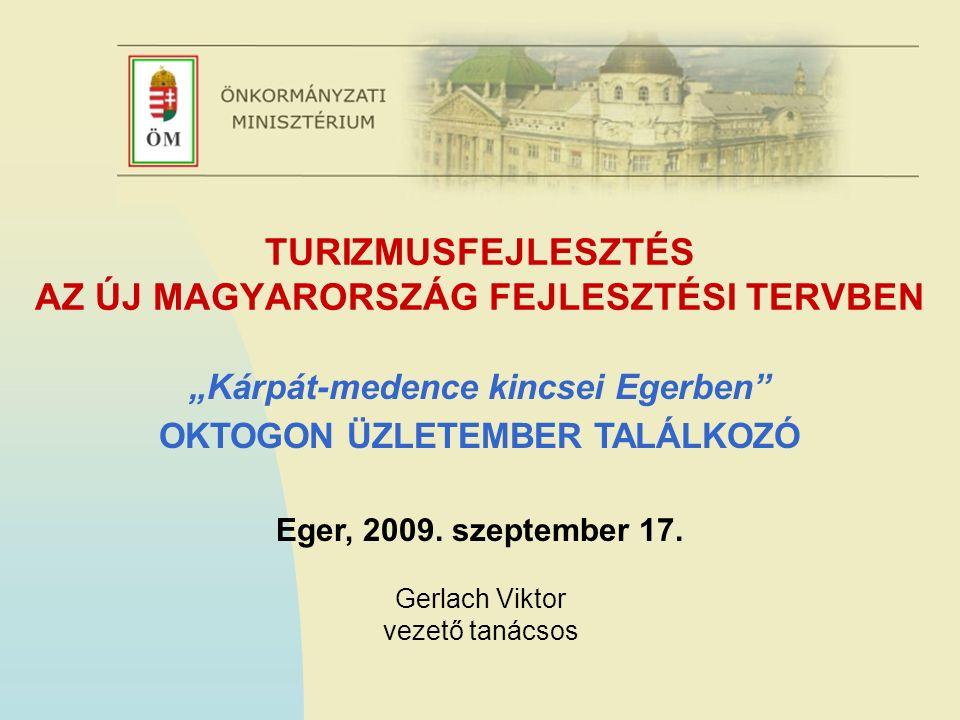 """TURIZMUSFEJLESZTÉS AZ ÚJ MAGYARORSZÁG FEJLESZTÉSI TERVBEN """"Kárpát-medence kincsei Egerben OKTOGON ÜZLETEMBER TALÁLKOZÓ Eger, 2009."""