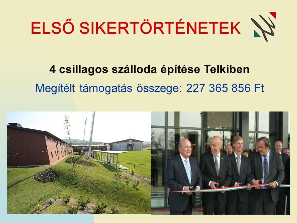 ELSŐ SIKERTÖRTÉNETEK 4 csillagos szálloda építése Telkiben Megítélt támogatás összege: 227 365 856 Ft