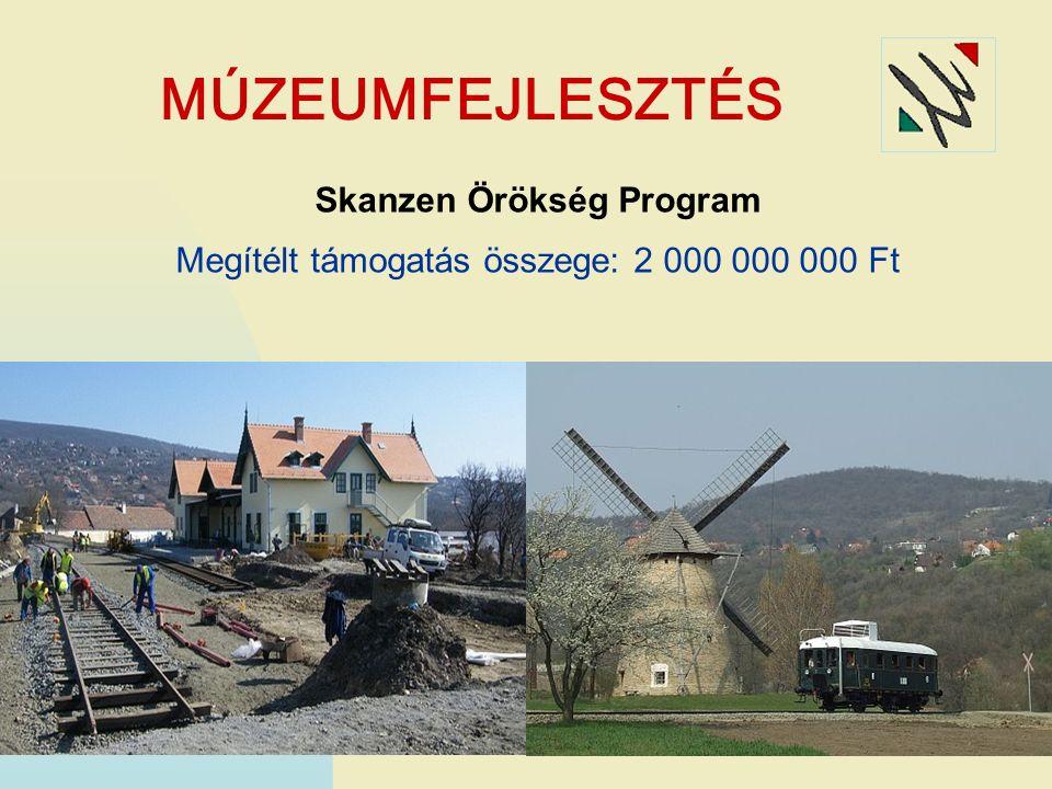 MÚZEUMFEJLESZTÉS Skanzen Örökség Program Megítélt támogatás összege: 2 000 000 000 Ft