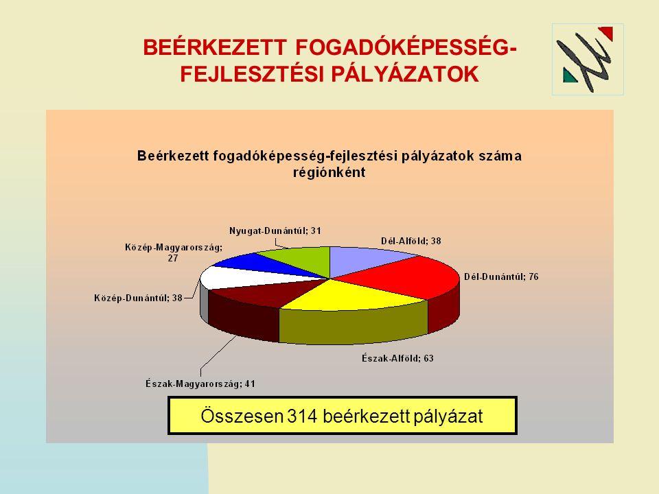 BEÉRKEZETT FOGADÓKÉPESSÉG- FEJLESZTÉSI PÁLYÁZATOK Összesen 314 beérkezett pályázat