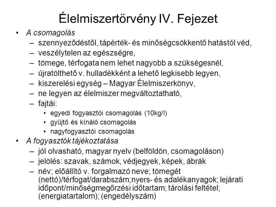 Élelmiszertörvény IV.