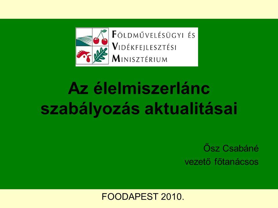 FOODAPEST 2010. Az élelmiszerlánc szabályozás aktualitásai Ősz Csabáné vezető főtanácsos