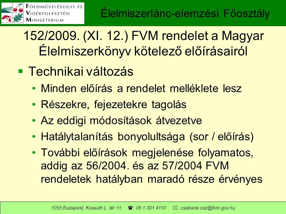 Élelmiszerlánc-elemzési Főosztály 1055 Budapest, Kossuth L.