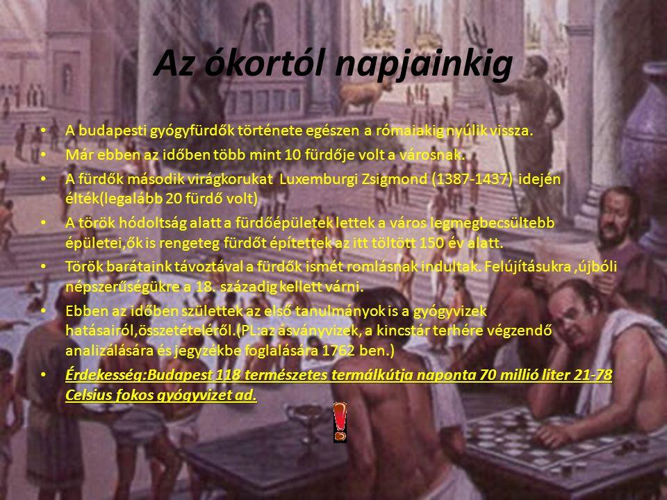 Az ókortól napjainkig A budapesti gyógyfürdők története egészen a rómaiakig nyúlik vissza.