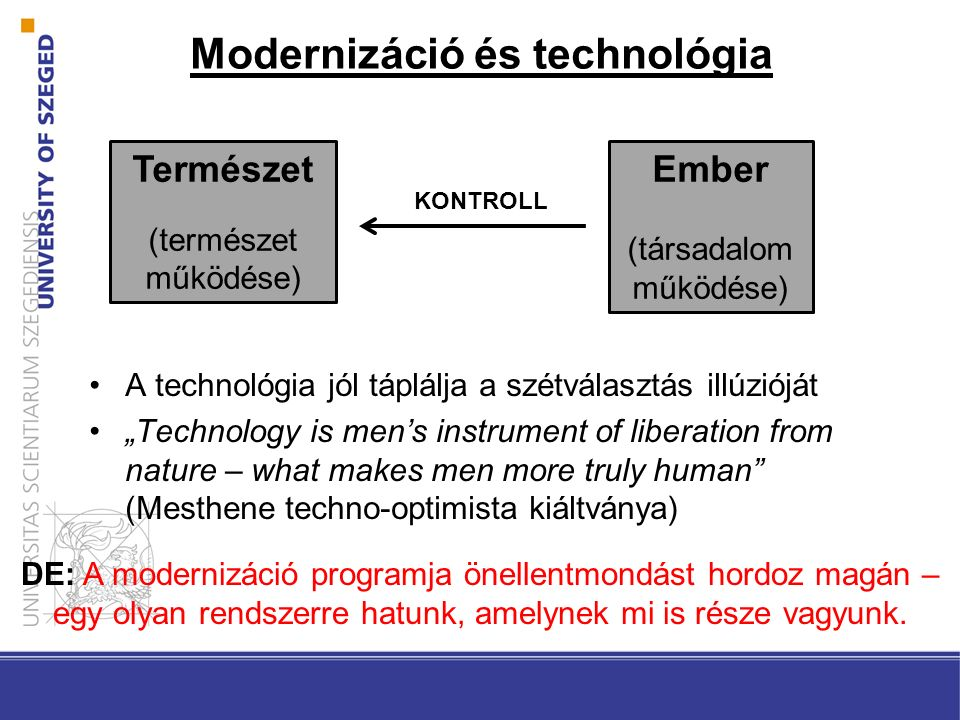 "Modernizáció és technológia A technológia jól táplálja a szétválasztás illúzióját ""Technology is men's instrument of liberation from nature – what mak"
