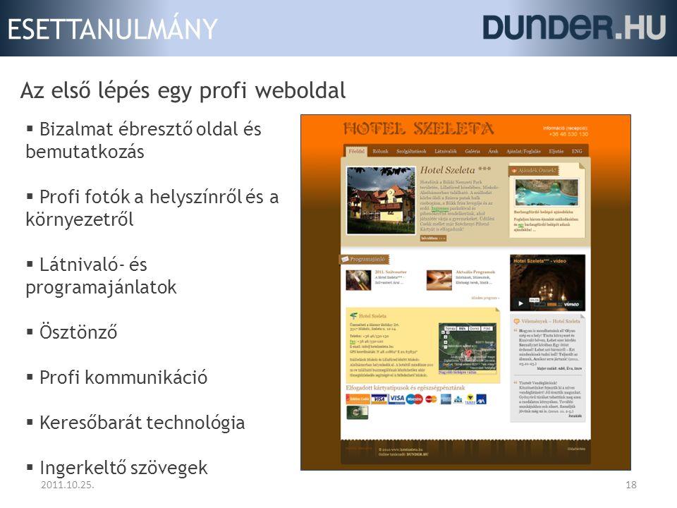ESETTANULMÁNY 2011.10.25.18 Az első lépés egy profi weboldal  Bizalmat ébresztő oldal és bemutatkozás  Profi fotók a helyszínről és a környezetről 