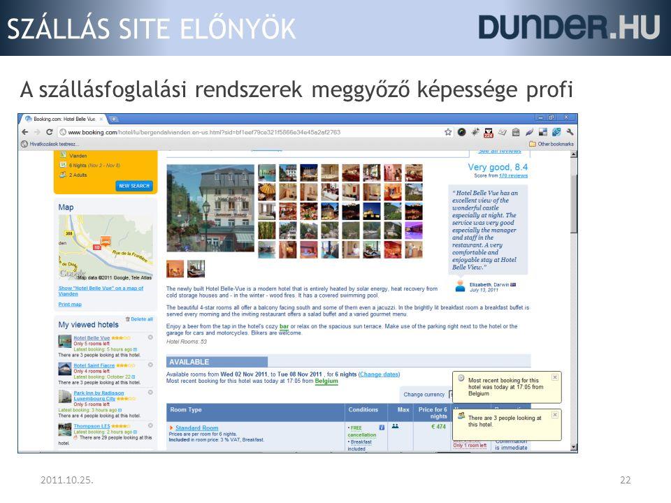 SZÁLLÁS SITE ELŐNYÖK 2011.10.25.22 A szállásfoglalási rendszerek meggyőző képessége profi