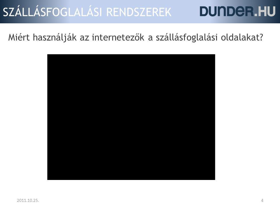 SZÁLLÁSFOGLALÁSI RENDSZEREK Miért használják az internetezők a szállásfoglalási oldalakat? 2011.10.25.4