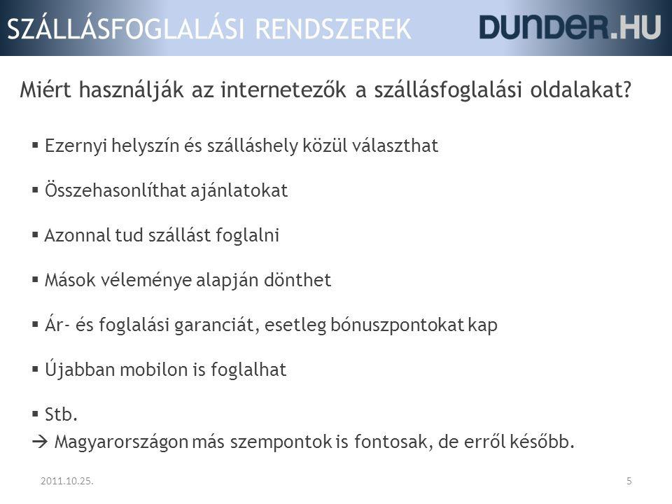 SZÁLLÁSFOGLALÁSI RENDSZEREK 2011.10.25.5  Ezernyi helyszín és szálláshely közül választhat  Összehasonlíthat ajánlatokat  Azonnal tud szállást fogl