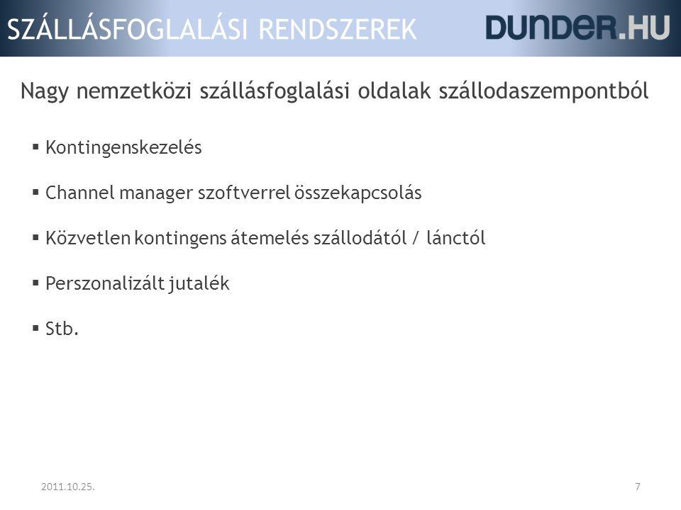 """SZÁLLÁSFOGLALÁSI RENDSZEREK 2011.10.25.8 Magyar szállásfoglalási oldalak (belföldi fókuszúak)  + """"megszámlálhatatlan kicsi vagy niche oldal"""