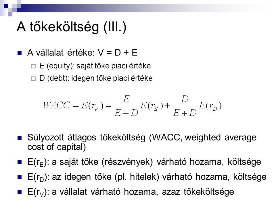 A tőkeköltség (III.) A vállalat értéke: V = D + E  E (equity): saját tőke piaci értéke  D (debt): idegen tőke piaci értéke Súlyozott átlagos tőkeköltség (WACC, weighted average cost of capital) E(r E ): a saját tőke (részvények) várható hozama, költsége E(r D ): az idegen tőke (pl.