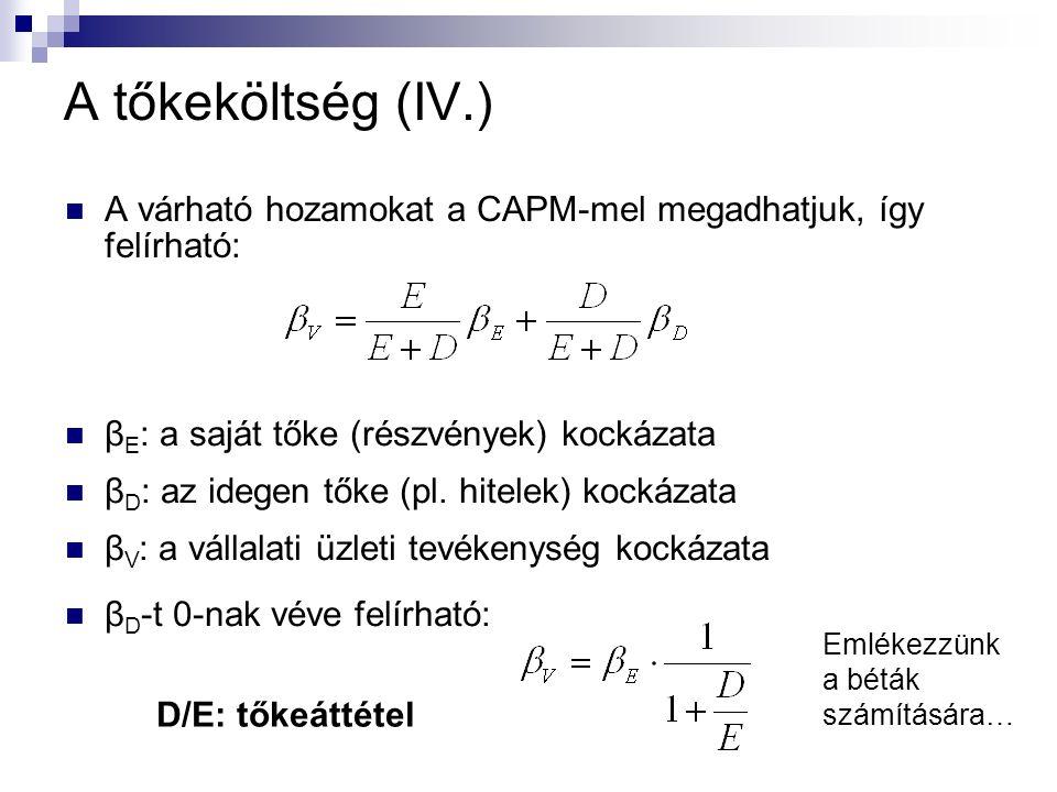A tőkeköltség (IV.) A várható hozamokat a CAPM-mel megadhatjuk, így felírható: β E : a saját tőke (részvények) kockázata β D : az idegen tőke (pl.