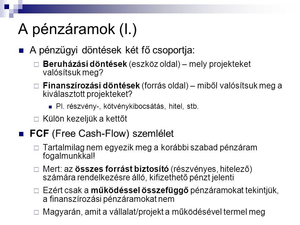 A pénzáramok (I.) A pénzügyi döntések két fő csoportja:  Beruházási döntések (eszköz oldal) – mely projekteket valósítsuk meg?  Finanszírozási dönté