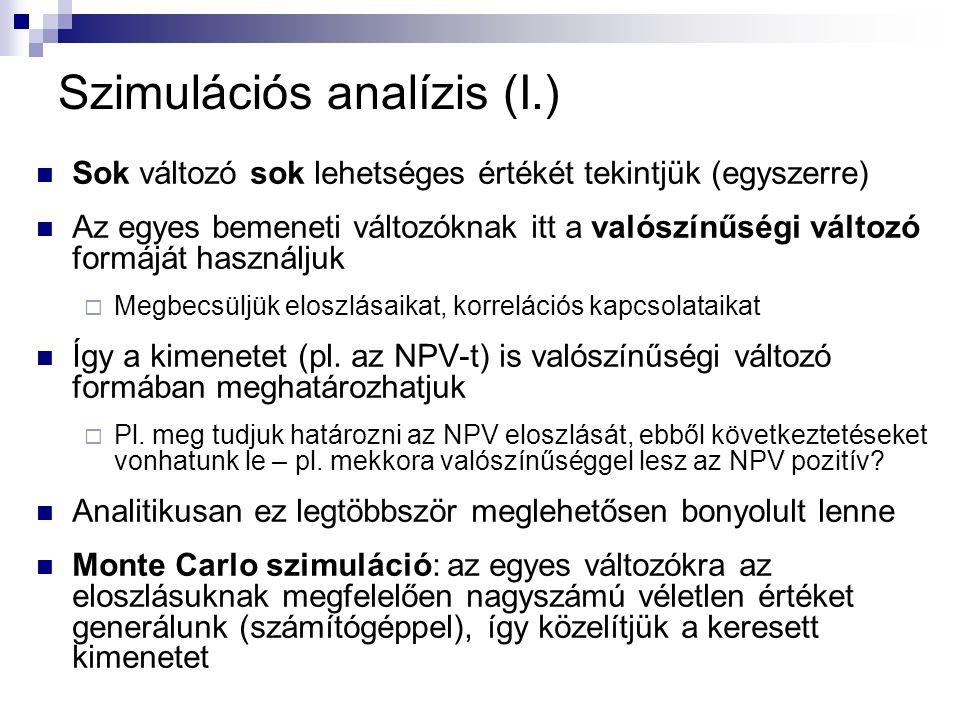 Szimulációs analízis (I.) Sok változó sok lehetséges értékét tekintjük (egyszerre) Az egyes bemeneti változóknak itt a valószínűségi változó formáját használjuk  Megbecsüljük eloszlásaikat, korrelációs kapcsolataikat Így a kimenetet (pl.