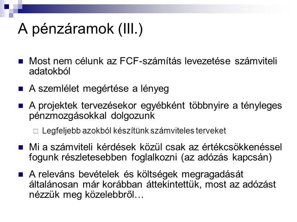 A pénzáramok (III.) Most nem célunk az FCF-számítás levezetése számviteli adatokból A szemlélet megértése a lényeg A projektek tervezésekor egyébként