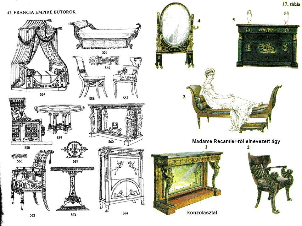 konzolasztal Madame Recamier-ről elnevezett ágy