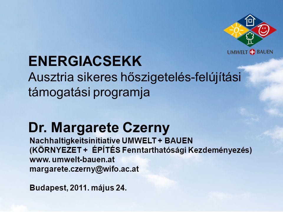 Energiacsekk 2011 100 millió EUR finanszírozás Hőszigetelés-javító projektekre  70 millió EUR magáningatlanokra  30 millió EUR üzemekre Összesen 400 millió EUR szerepel a költségvetésben e célra a 2011-2014 közötti időszakra Tervezik a projekt meghosszabbítását is 2015-ig fontos konjunkturális ösztönző az épületfelújítások hatékony globális felmelegedés elleni hatása is