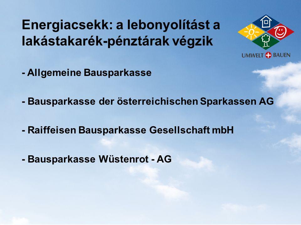 Energiacsekk: a lebonyolítást a lakástakarék-pénztárak végzik - Allgemeine Bausparkasse - Bausparkasse der österreichischen Sparkassen AG - Raiffeisen