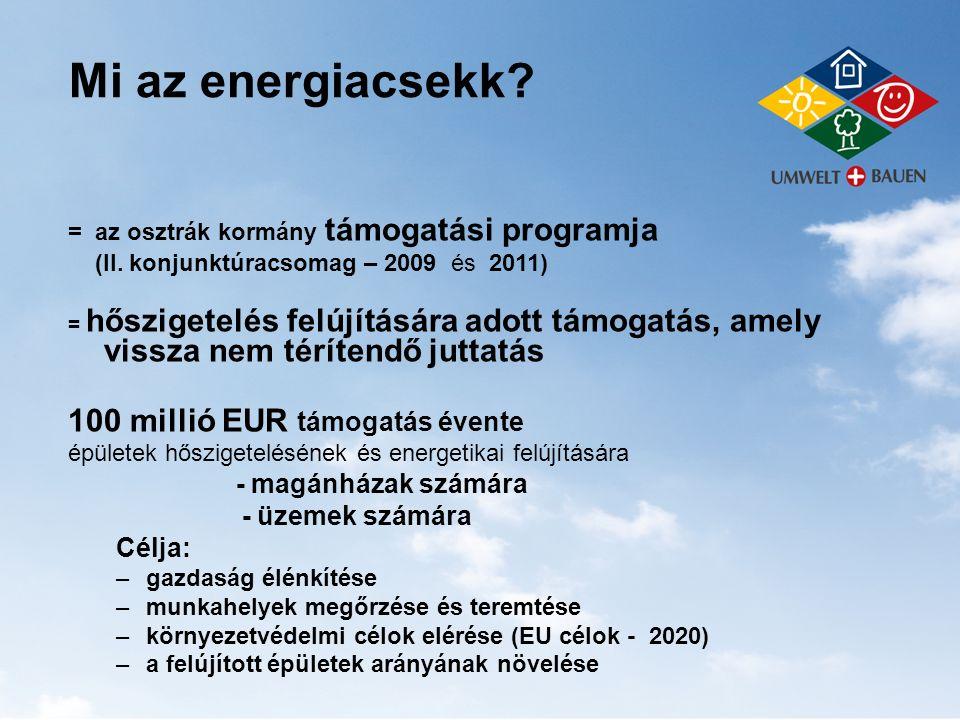 Mi az energiacsekk? = az osztrák kormány támogatási programja (II. konjunktúracsomag – 2009 és 2011) = hőszigetelés felújítására adott támogatás, amel