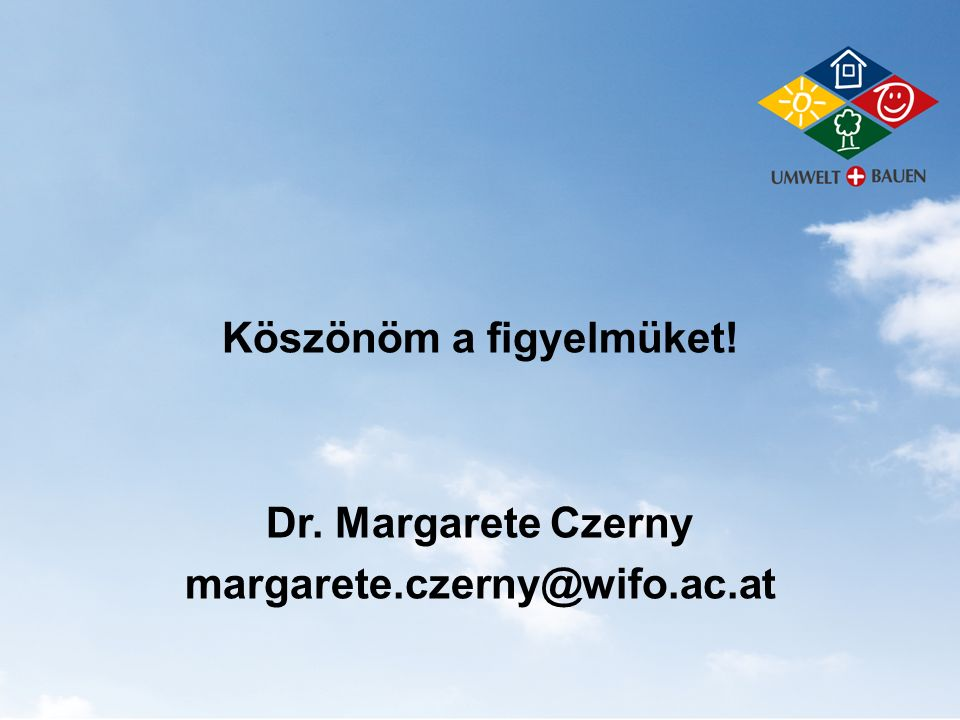 Köszönöm a figyelmüket! Dr. Margarete Czerny margarete.czerny@wifo.ac.at