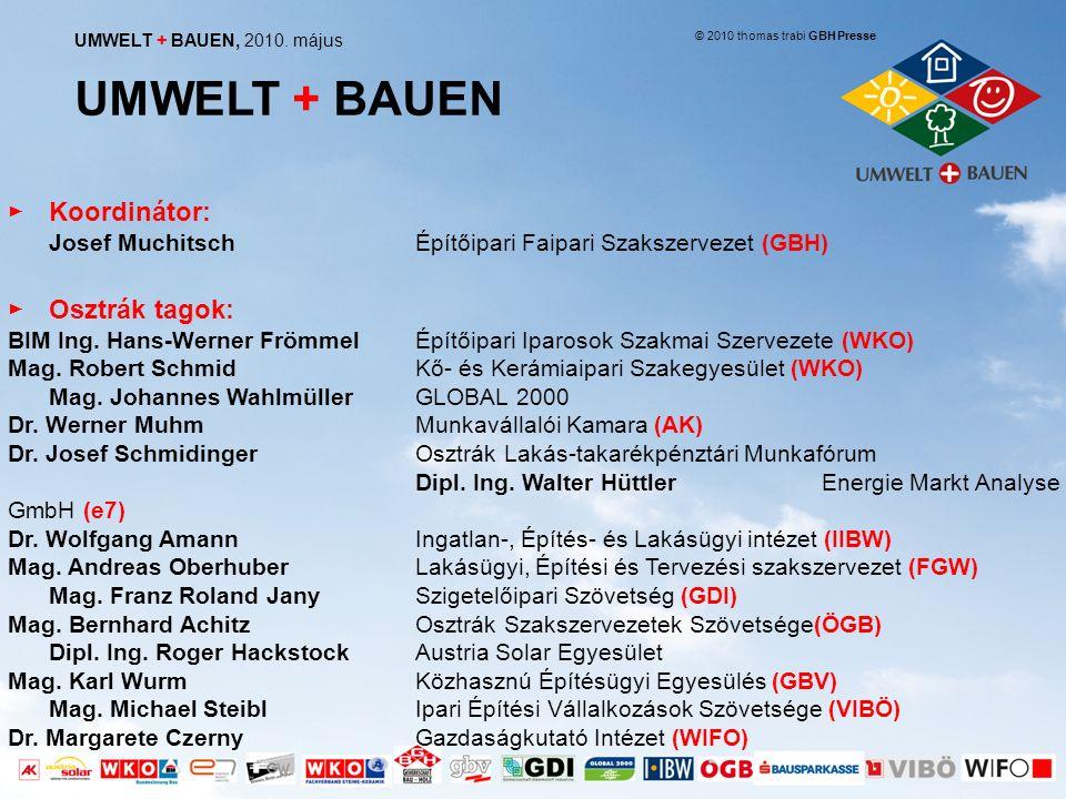 megújuló energiahordozókra való átállás Az Umwelt + Bauen kezdeményezés 4 fő célja a felújított épületek arányának növelése jövőbe mutató tömegközlekedési megoldások és képzési intézmények építése Forrás: Thomas Trabi GBH, Presse 2010 a megfizethető, újépítésű lakások arányának növelése