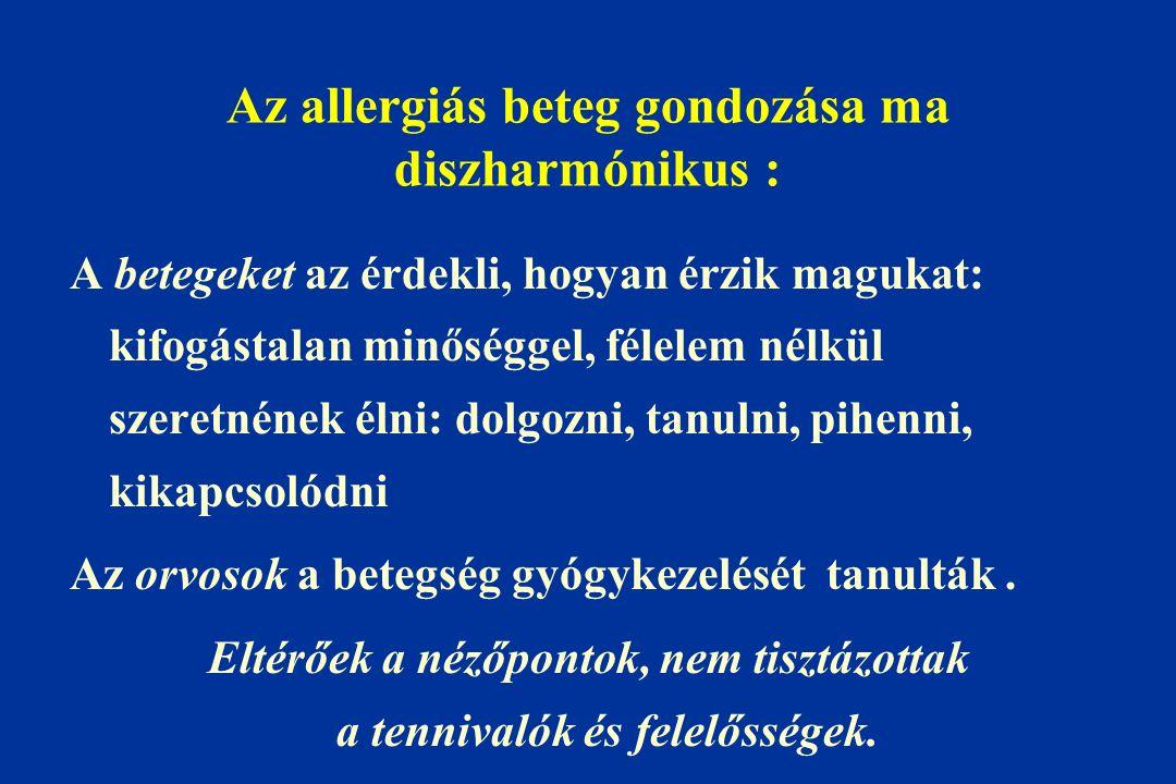 Az allergiás beteg gondozása ma diszharmónikus : A betegeket az érdekli, hogyan érzik magukat: kifogástalan minőséggel, félelem nélkül szeretnének élni: dolgozni, tanulni, pihenni, kikapcsolódni Az orvosok a betegség gyógykezelését tanulták.