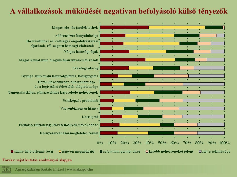 A vállalkozások működését negatívan befolyásoló külső tényezők Forrás: saját kutatás eredményei alapján