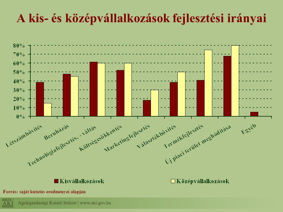 A kis- és középvállalkozások fejlesztési irányai Forrás: saját kutatás eredményei alapján