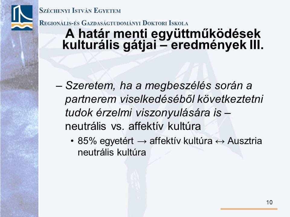 A határ menti együttműködések kulturális gátjai – eredmények III.