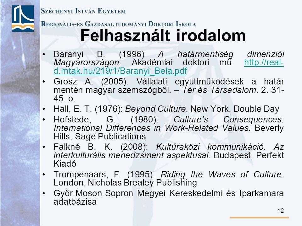 12 Felhasznált irodalom Baranyi B. (1996) A határmentiség dimenziói Magyarországon.