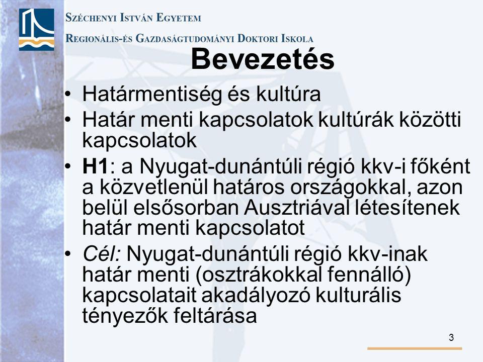 3 Bevezetés Határmentiség és kultúra Határ menti kapcsolatok kultúrák közötti kapcsolatok H1: a Nyugat-dunántúli régió kkv-i főként a közvetlenül határos országokkal, azon belül elsősorban Ausztriával létesítenek határ menti kapcsolatot Cél: Nyugat-dunántúli régió kkv-inak határ menti (osztrákokkal fennálló) kapcsolatait akadályozó kulturális tényezők feltárása