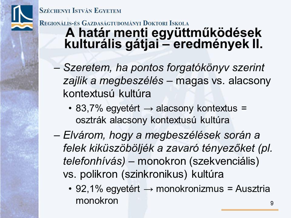 A határ menti együttműködések kulturális gátjai – eredmények II.