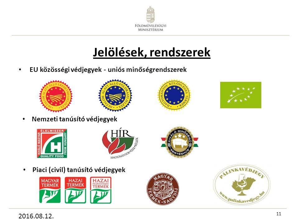 11 EU közösségi védjegyek - uniós minőségrendszerek Nemzeti tanúsító védjegyek Piaci (civil) tanúsító védjegyek 2016.08.12.