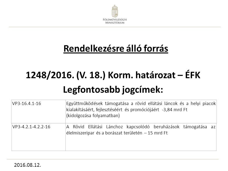 Rendelkezésre álló forrás 1248/2016. (V. 18.) Korm.