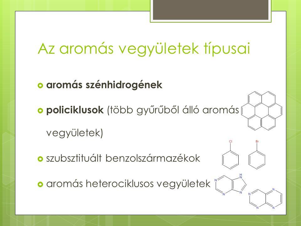 Az aromás vegyületek típusai  aromás szénhidrogének  policiklusok (több gyűrűből álló aromás vegyületek)  szubsztituált benzolszármazékok  aromás heterociklusos vegyületek