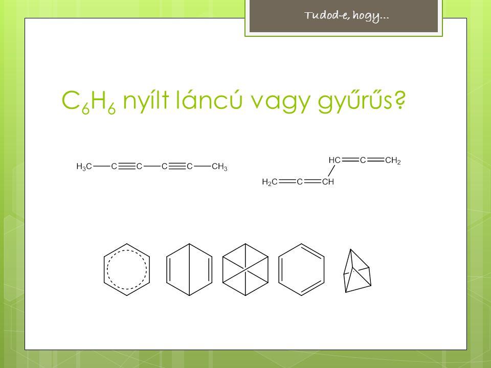 Hückel-szabály Aromásnak tekintünk minden olyan vegyületet, amely  gyűrűs szerkezetű,  a gyűrűt felépítő atomok egy síkban helyezkednek el,  a gyűrű(k)ben lévő delokalizált  -elekronok száma 4n+2 (ahol n egész szám).