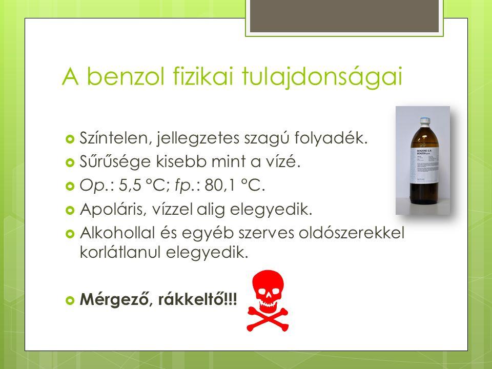 A benzol fizikai tulajdonságai  Színtelen, jellegzetes szagú folyadék.