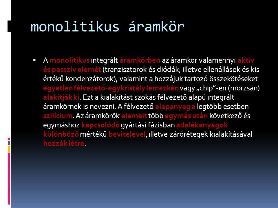 monolitikus áramkör  A monolitikus integrált áramkörben az áramkör valamennyi aktív és passzív elemét (tranzisztorok és diódák, illetve ellenállások
