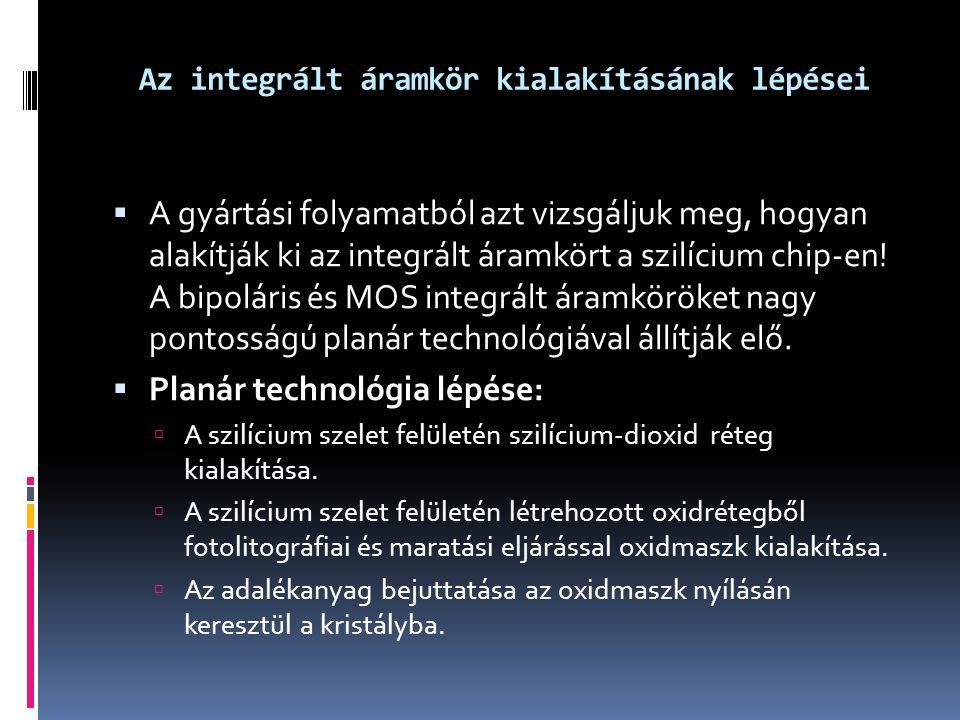 Az integrált áramkör kialakításának lépései  A gyártási folyamatból azt vizsgáljuk meg, hogyan alakítják ki az integrált áramkört a szilícium chip-en.