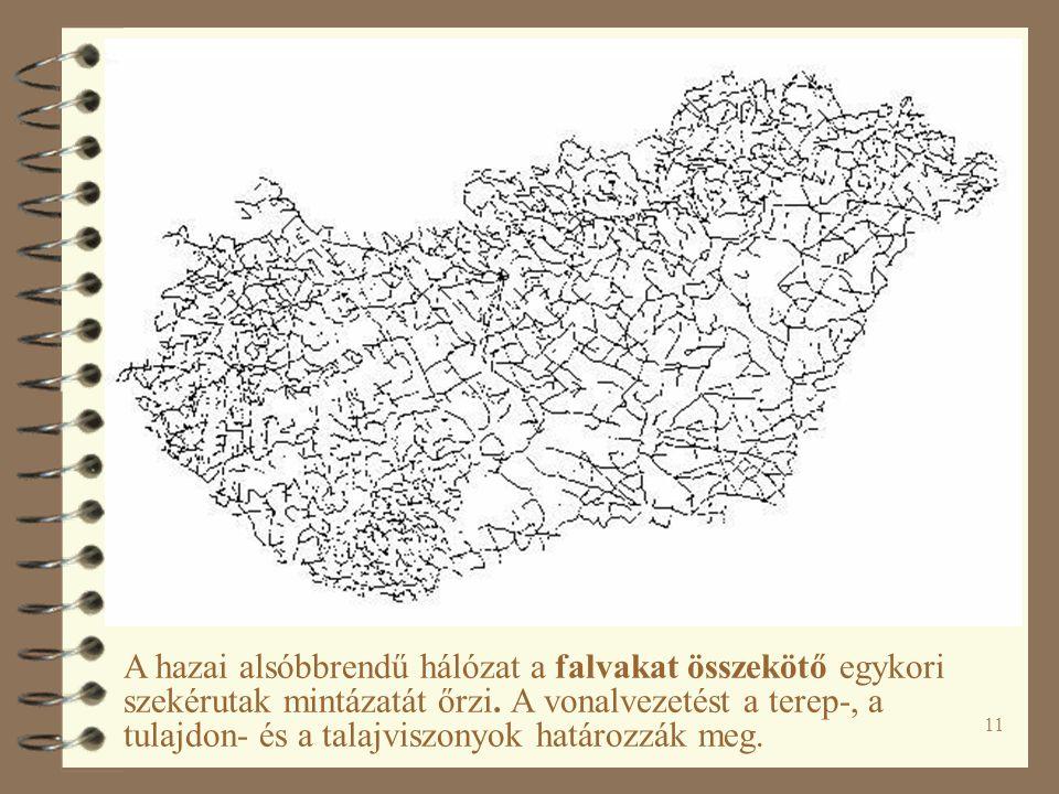 11 A hazai alsóbbrendű hálózat a falvakat összekötő egykori szekérutak mintázatát őrzi.