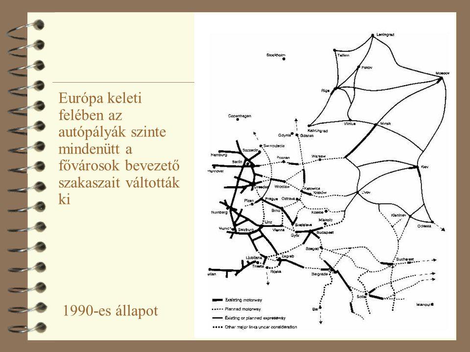 18 Európa keleti felében az autópályák szinte mindenütt a fővárosok bevezető szakaszait váltották ki 1990-es állapot