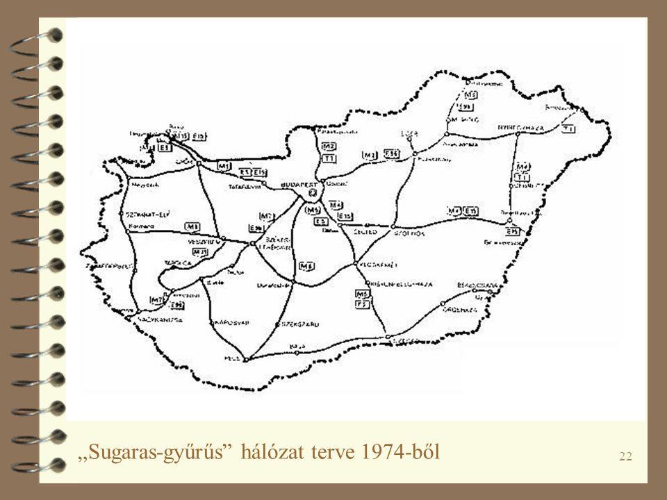 """22 """"Sugaras-gyűrűs hálózat terve 1974-ből"""