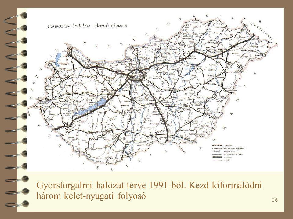 26 Gyorsforgalmi hálózat terve 1991-ből. Kezd kiformálódni három kelet-nyugati folyosó