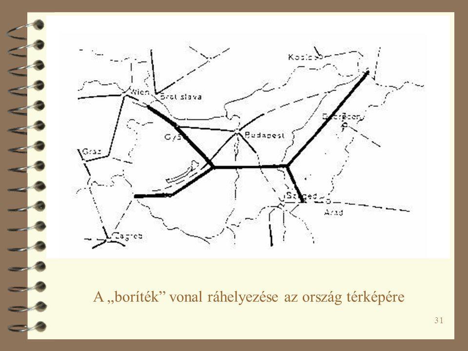 """31 A """"boríték vonal ráhelyezése az ország térképére"""