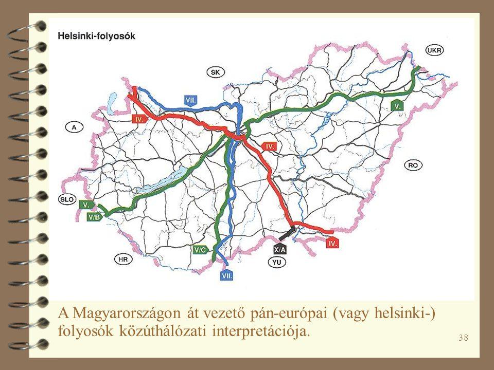 38 A Magyarországon át vezető pán-európai (vagy helsinki-) folyosók közúthálózati interpretációja.