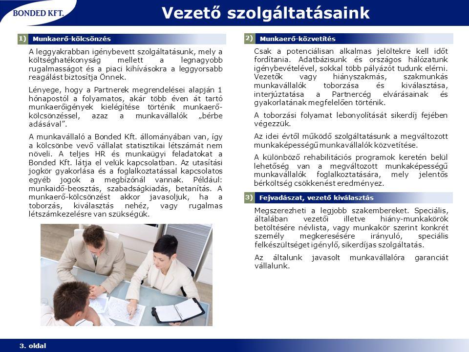 Vezető szolgáltatásaink 3. oldal 1) Munkaerő-kölcsönzés 2) Munkaerő-közvetítés A leggyakrabban igénybevett szolgáltatásunk, mely a költséghatékonyság