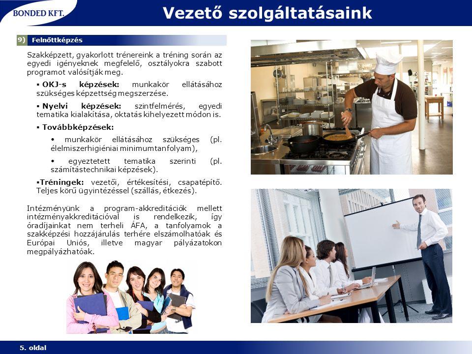 Vezető szolgáltatásaink 5. oldal 1) Munkaerő-közvetítés Szakképzett, gyakorlott trénereink a tréning során az egyedi igényeknek megfelelő, osztályokra