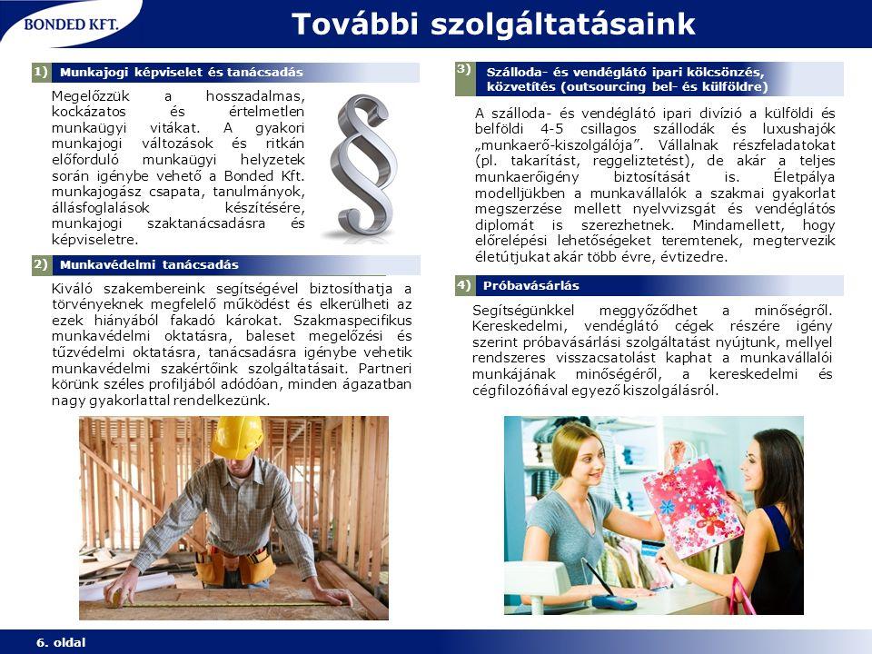 További szolgáltatásaink 6. oldal 1) Munkaerő-közvetítés Megelőzzük a hosszadalmas, kockázatos és értelmetlen munkaügyi vitákat. A gyakori munkajogi v